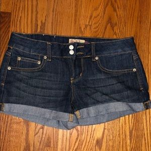 Dark wash  cuffed jean shorts